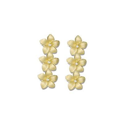14kt Yellow Gold 7mm Triple Hawaiian Plumeria with Diamond Pierced Earrings