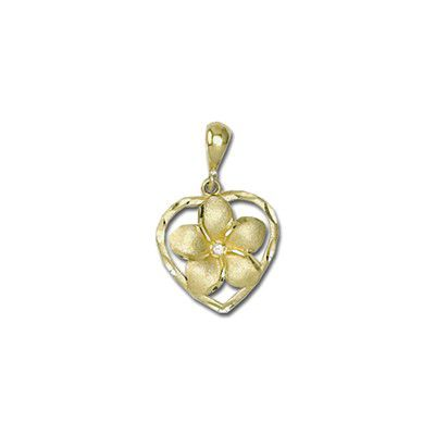 14Kt Gold Hawaiian 8mm Plumeria Heart with Diamond Pendant