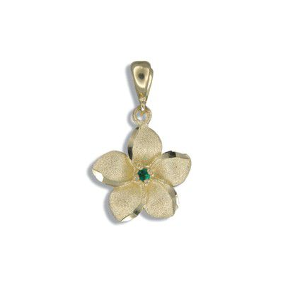 14kt Yellow Gold 15mm Hawaiian Plumeria with Emerald Pendant