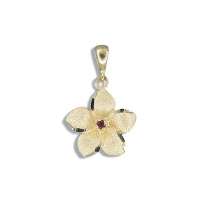 14kt Yellow Gold 15mm Hawaiian Plumeria with Ruby Pendant