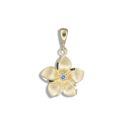 14kt Yellow Gold 15mm Hawaiian Plumeria with Sapphire Pendant