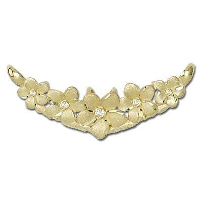 14kt Solid Yellow Gold 5 Hawaiian Plumeria with Diamond Slide Pendant