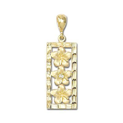 14kt Yellow Gold Plumeria with Diamond Vertical Pendant