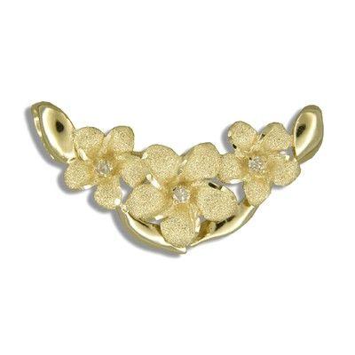 14kt Solid Yellow Gold  Horizontal Hawaiian Plumeria with Diamond Slide Pendant
