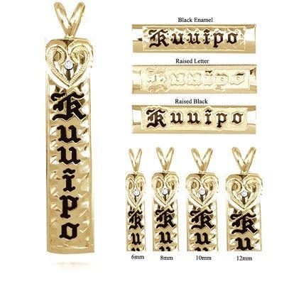 14K Yellow Gold Custom Hawaiian Vertical Pendant with Diamond Heart