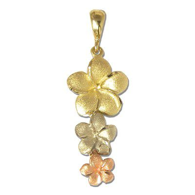 14kt Tri-color Gold Triple Hawaiian Plumeria Pendant