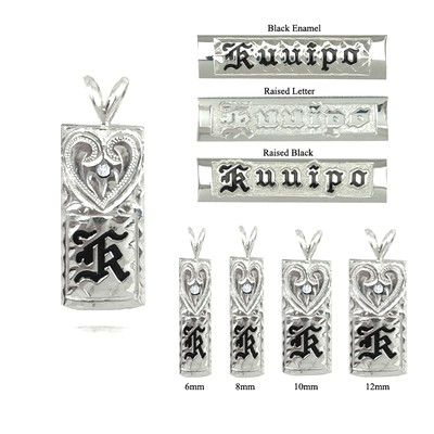 14Kホワイトゴールドシングルイニシャルハワイアンペンダント、手彫りダイヤモンドハート