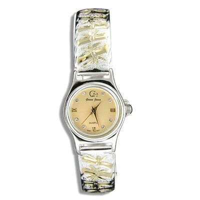 Sterling Silver Two Tone Hawaiian Bamboo Design Watch