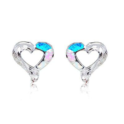 Sterling Silver Hawaiian Cut-Out Heart Rainbow Opal Pierced Earrings