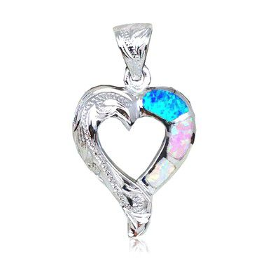 Sterling Silver Hawaiian Cut-Out Heart Rainbow Opal Pendant