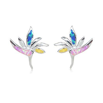 Sterling Silver Hawaiian Bird of Paradise Rainbow Opal Pierced Earrings