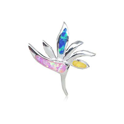 Sterling Silver Hawaiian Bird of Paradise Rainbow Opal Pendant