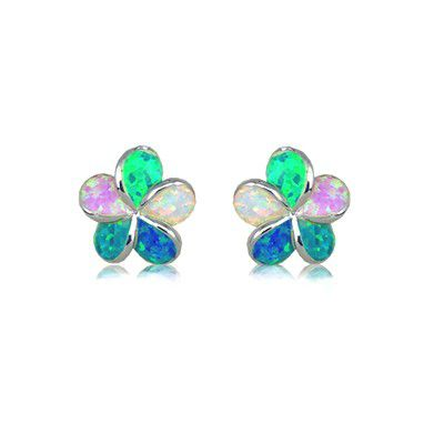 Sterling Silver Hawaiian 12MM Plumeria Rainbow Opal Pierced Earrings