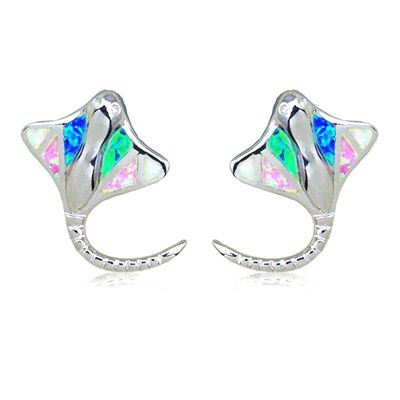 Sterling Silver Hawaiian Ray Fish Rainbow Opal Pierced Earrings