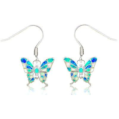 Sterling Silver Hawaiian Butterfly Shaped Rainbow Opal Earrings with Fish Wires