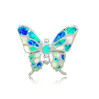 Sterling Silver Hawaiian Butterfly Shaped Rainbow Opal Pendant