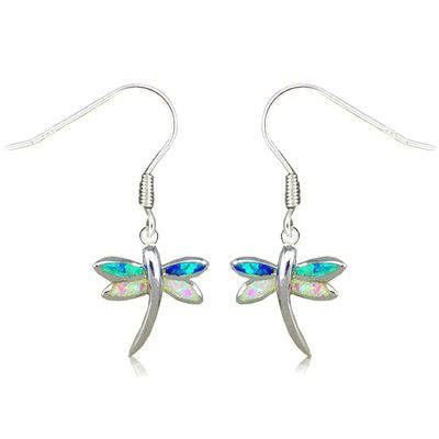 Sterling Silver Hawaiian Dragonfly Shaped Rainbow Opal Earrings with Fish Wires