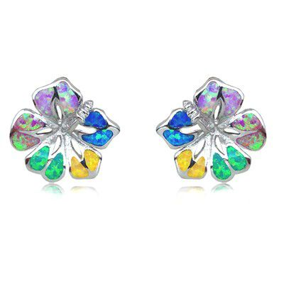 Sterling Silver Hawaiian 15MM Hibiscus Shaped Rainbow Opal Pierced Earrings
