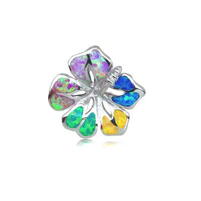 Sterling Silver Hawaiian 18MM Hibiscus Shaped Rainbow Opal Slide Pendant (S)