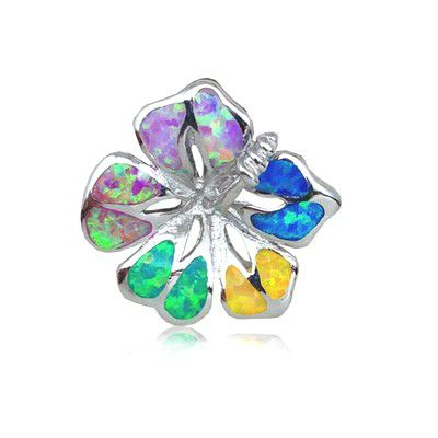 Sterling Silver Hawaiian 25MM Hibiscus Shaped Rainbow Opal Slide Pendant (L)