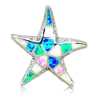 Sterling Silver Hawaiian 30MM Starfish Shaped Rainbow Opal Slide Pendant