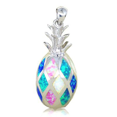 Sterling Silver Hawaiian Pineapple Shaped Rainbow Opal Pendant (L)