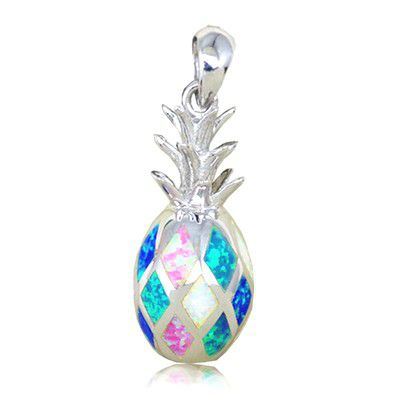 Sterling Silver Hawaiian Small Pineapple Shaped Rainbow Opal Pendant