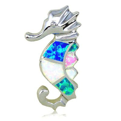 Sterling Silver Hawaiian Fancy Seahorse Shaped Rainbow Opal Slide Pendant