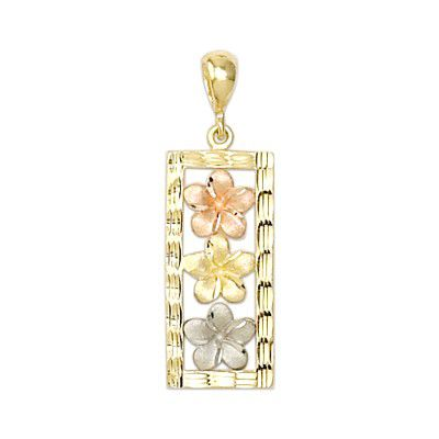 14kt Tri-color Gold Plumeria Vertical Pendant