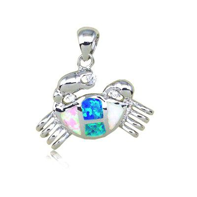 Sterling Silver Hawaiian Crab Shaped Rainbow Opal Pendant