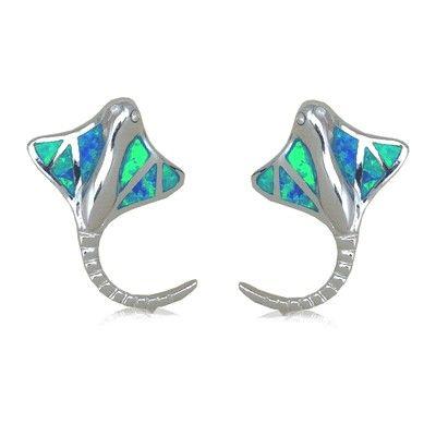 Sterling Silver Hawaiian Ray Fish Shaped Blue Opal Pierced Earrings