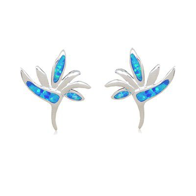 Sterling Silver Hawaiian Bird of Paradise Shaped Blue Opal Pierced Earrings