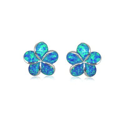 Sterling Silver Hawaiian 12MM Plumeria Blue Opal Pierced Earrings