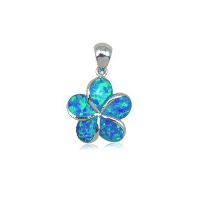 Sterling Silver Hawaiian 15mm Fancy Plumeria Blue Opal Pendant