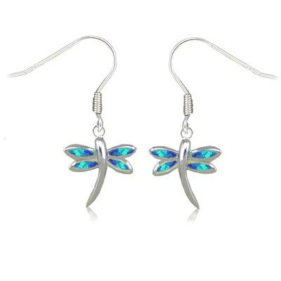 Sterling Silver Hawaiian Dragonfly Shaped Blue Opal Earrings with Fish Wires