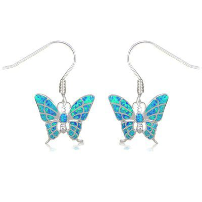 Sterling Silver Hawaiian Butterfly Shaped Blue Opal Earrings with Fish Wires