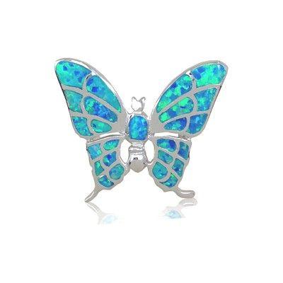 Sterling Silver Hawaiian Butterfly Shaped Blue Opal Pendant