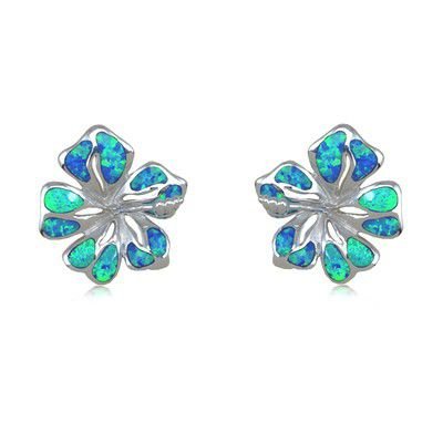 Sterling Silver Hawaiian 15MM Hibiscus Shaped Blue Opal Pierced Earrings
