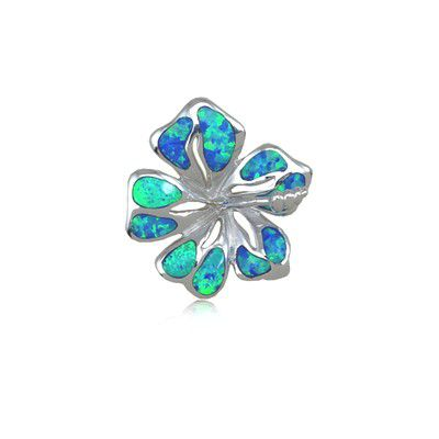 Sterling Silver Hawaiian 18MM Hibiscus Shaped Blue Opal Slide Pendant (S)
