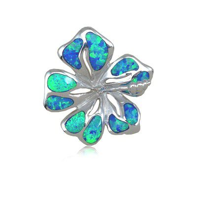 Sterling Silver Hawaiian 25MM Hibiscus Shaped Blue Opal Slide Pendant (L)