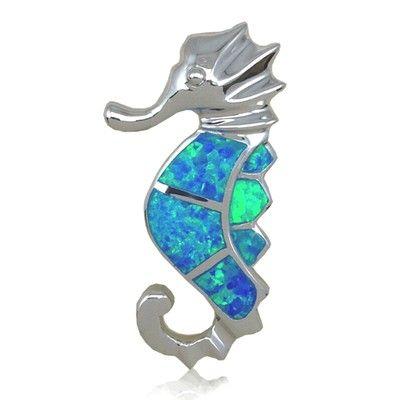 Sterling Silver Hawaiian Fancy Seahorse Shaped Blue Opal Slide Pendant