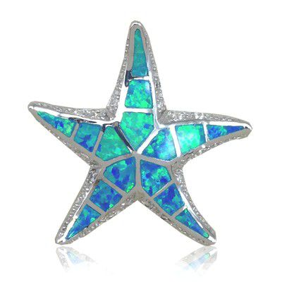Sterling Silver Hawaiian 30MM Starfish Shaped Blue Opal Slide Pendant