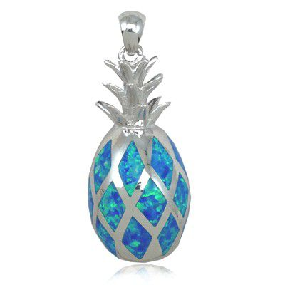 Sterling Silver 3D Hawaiian Pineapple Shaped Blue Opal Pendant (L)