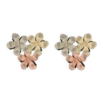 14kt Tri-Color Gold 8mm Plumeria Blossoms Pierced Earrings