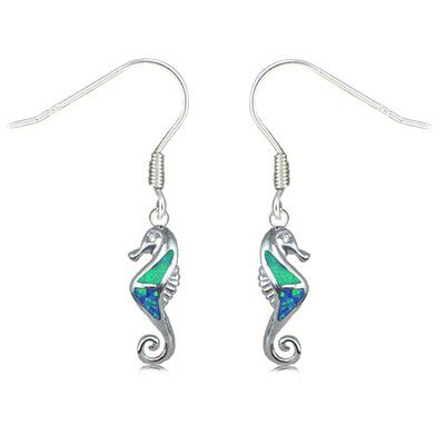 Sterling Silver Hawaiian Seahorse Shaped Blue Opal Earrings with Fish Wires