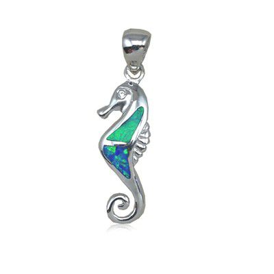 Sterling Silver Hawaiian Seahorse Shaped Blue Opal Pendant