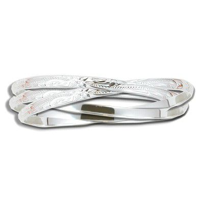 Sterling Silver Hawaiian Eternity Bangle