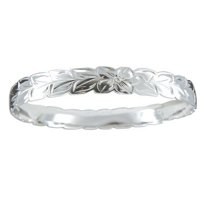 Sterling Silver 8mm Hawaiian Maile Leaf Design with Cut-Out Edge Bangle