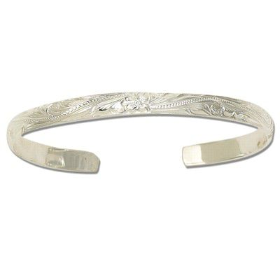 Sterling Silver 6mm Hawaiian with Plain Edge Cuff Bangle