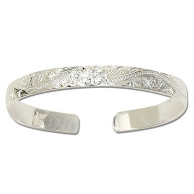 Sterling Silver 8mm Hawaiian with Plain Edge Cuff Bangle